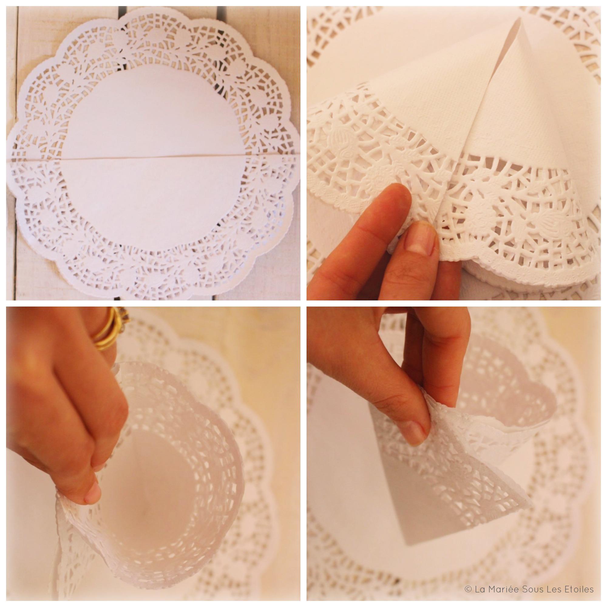 {DIY} Fabriquer des petits cornets en papier dentelle | Etape 2 : Pliage | Tuto Décoration Mariage présenté par La Mariée Sous Les Etoiles