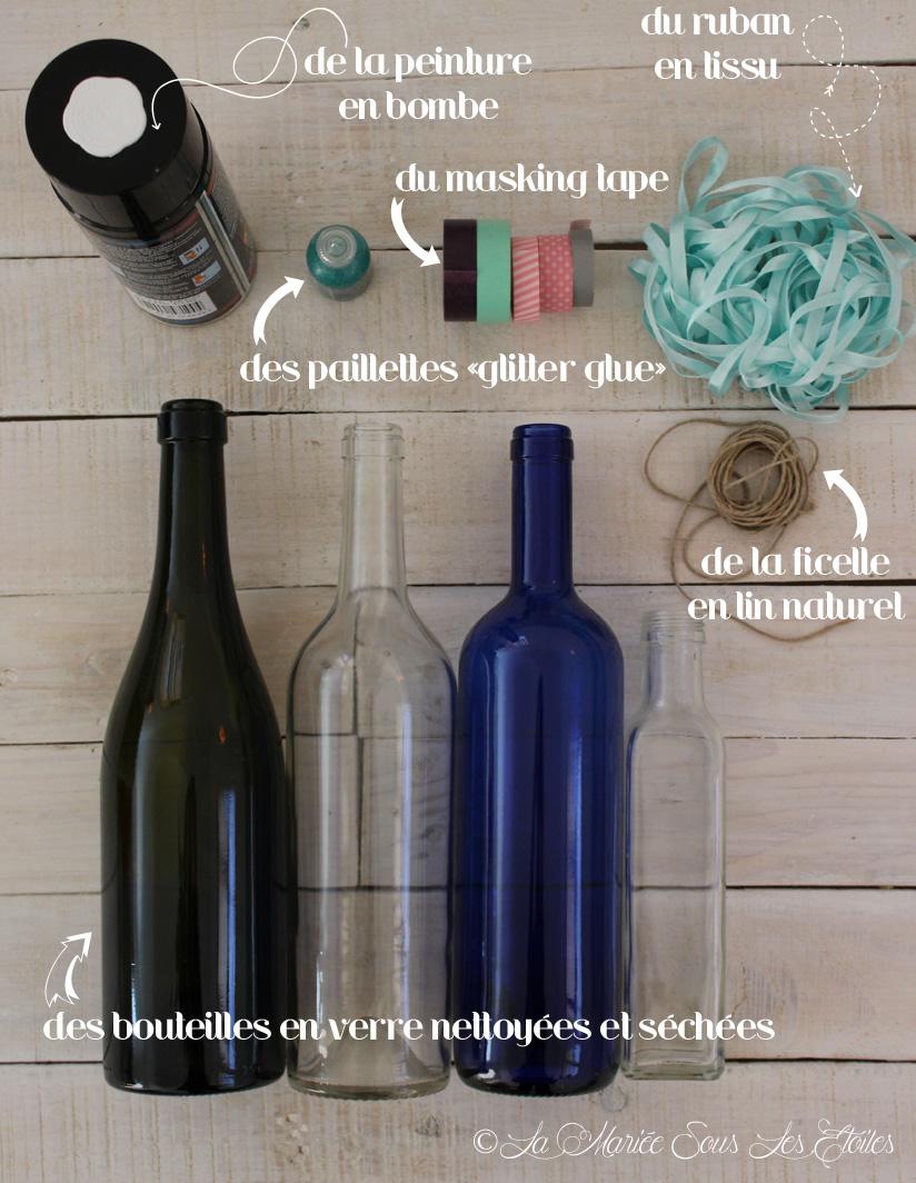 Customisation de bouteilles en verre, étape 1, présentée par La Mariée Sous Les Etoiles