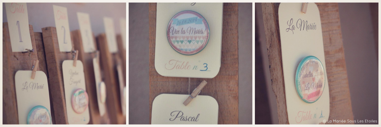 Escort cards originales pour mariage à l'esprit vintage | Escort Cards Mariage & Badges Invités | La Mariée Sous Les Etoiles