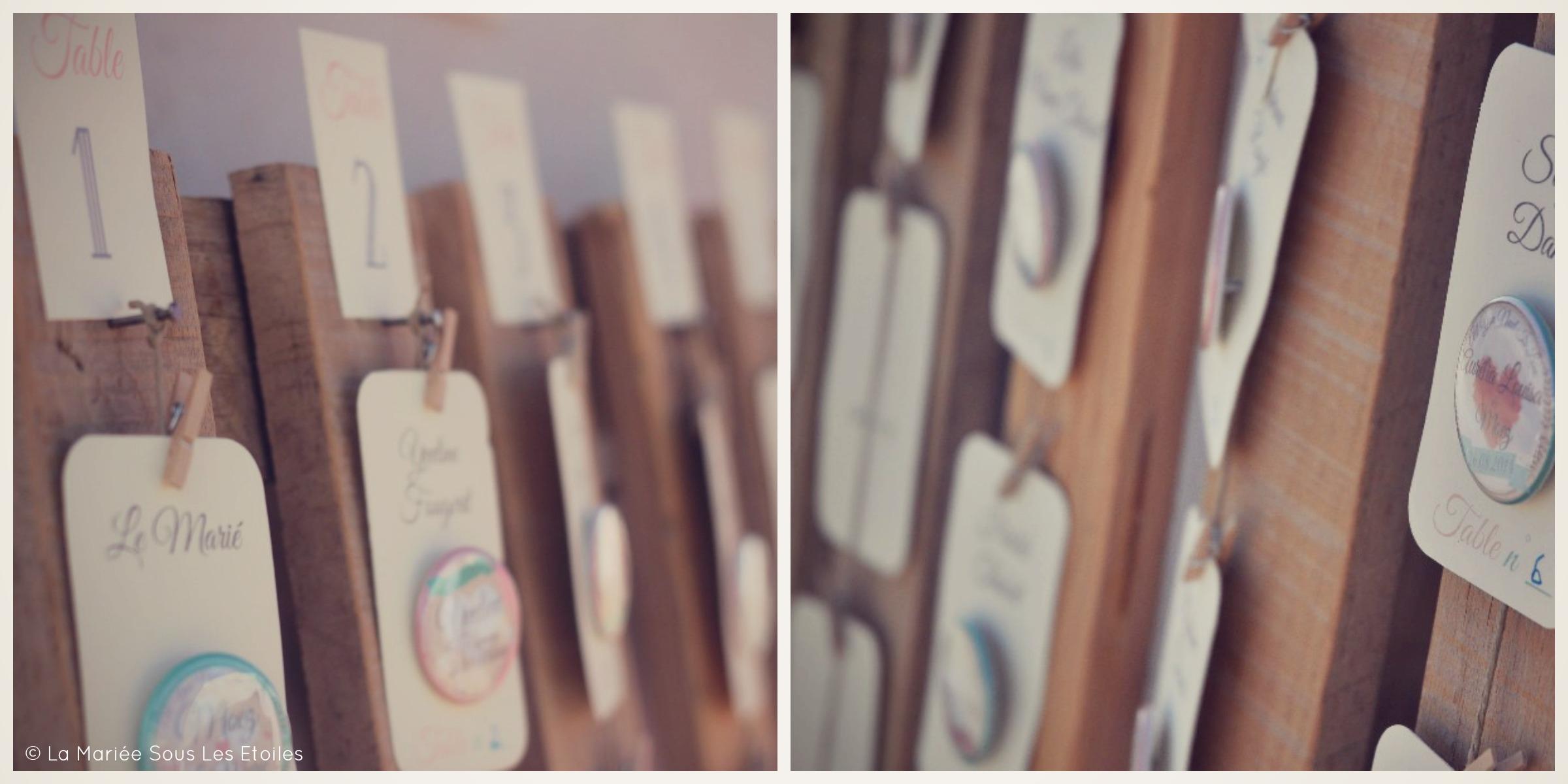 Escort cards originales pour mariage à l'esprit vintage | Escort Cards Mariage Esprit Vintage présentées par La Mariée Sous Les Etoiles