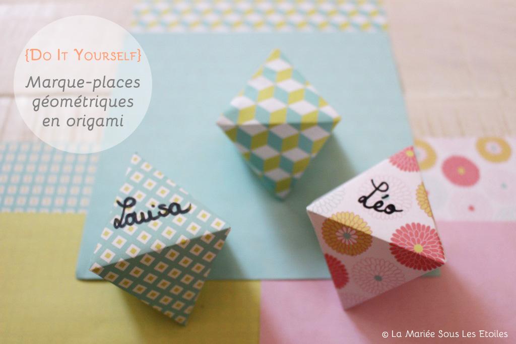 diy marque places g om triques en origami. Black Bedroom Furniture Sets. Home Design Ideas