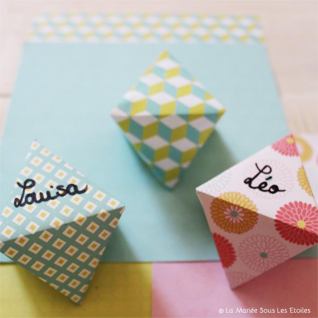 DIY {Do It Yourself} Marque-places géométriques en origami |Etape 4 : l'art du pliage par La Mariée Sous Les Etoiles