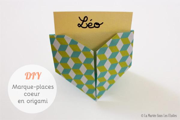 DIY {Do It Yourself} Marque-places cœur en origami| Etape 3 : Etiquette nominative par La Mariée Sous Les Etoiles