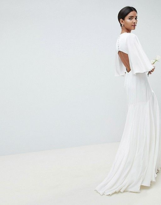 robe blanche dos ouvert manches vas es asos la mari e. Black Bedroom Furniture Sets. Home Design Ideas