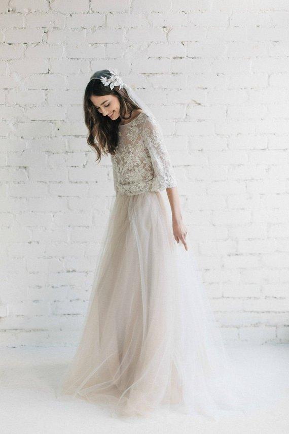 Robe de mariée dentelle et tulle • La Marié