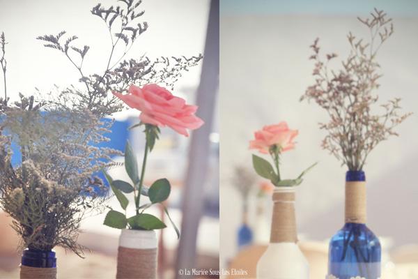 Customisation de bouteilles en verre présentée par La Mariée Sous Les Etoiles