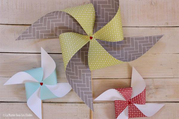 {DIY} Fabriquer des moulins à vent version papier | Tuto Décoration Mariage proposé par La Mariée Sous Les Etoiles