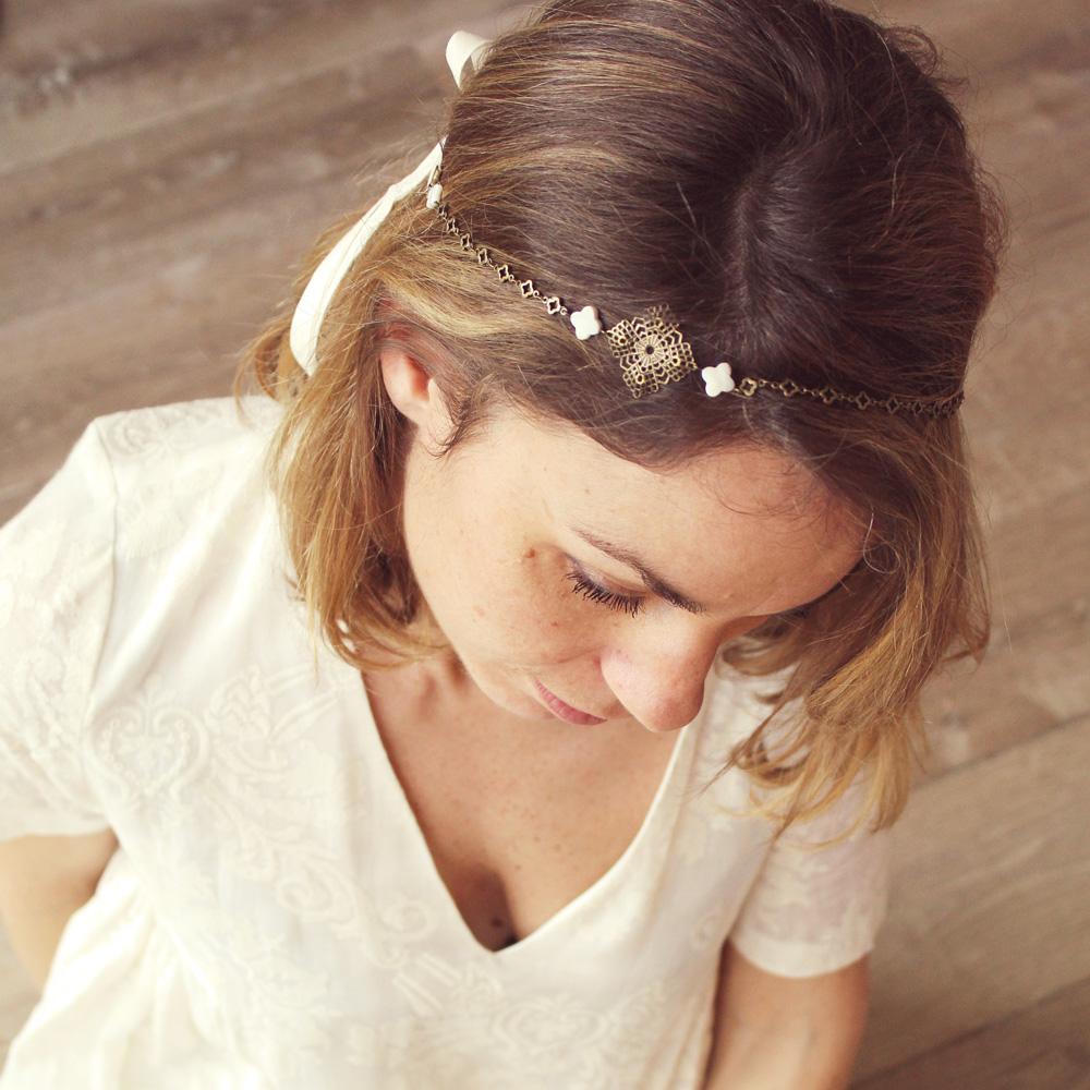 Headband bijou de tête TREFLE | Headband mariage Pemberley